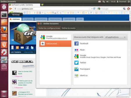 Ubuntu WebApps gestión de cuentas