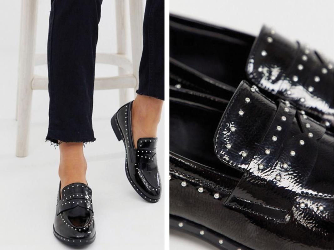 Mocasines negros con tachuelas de Glamorous