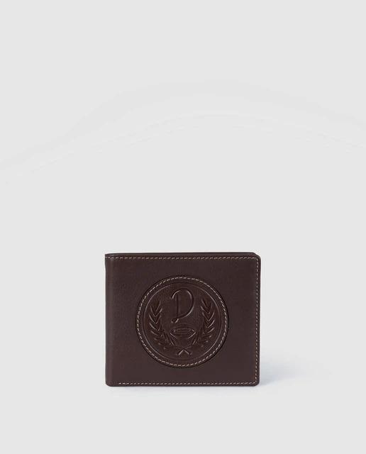 Cartera de hombre Dustin de piel en marrón con logo de la marca
