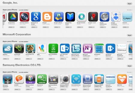 Apps de Google, Microsoft y Samsung en la App Store