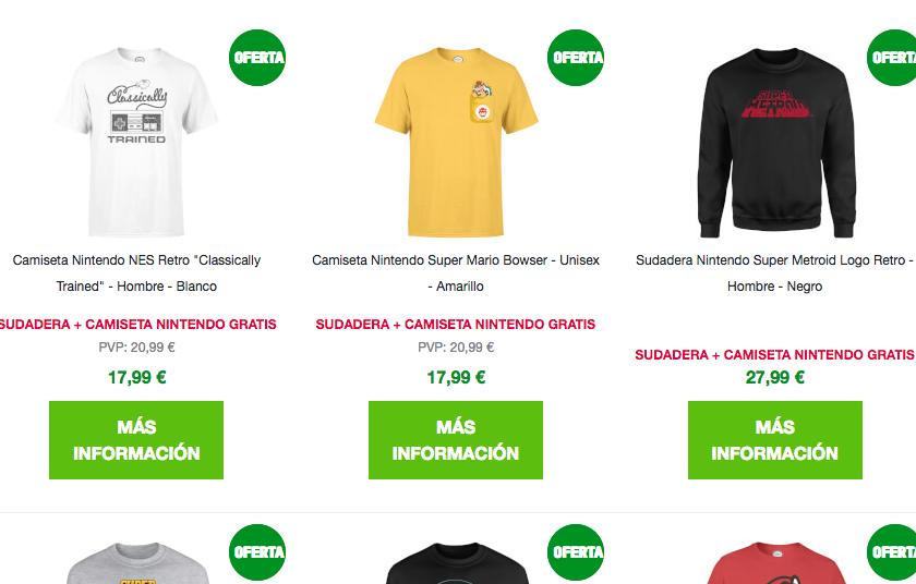 d939cb01fa45 Sudaderas oficiales Nintendo, con camiseta de regalo, por 27,99 euros en  Zavvi