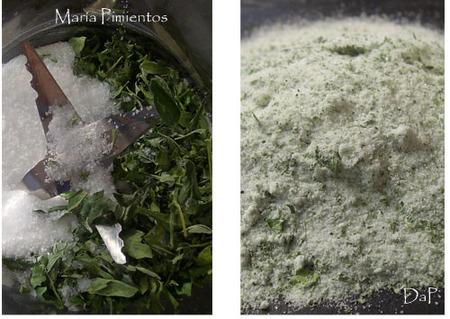 Molemos las hierbas con sal