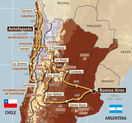 Confirmado el recorrido del Dakar Argentina - Chile 2010