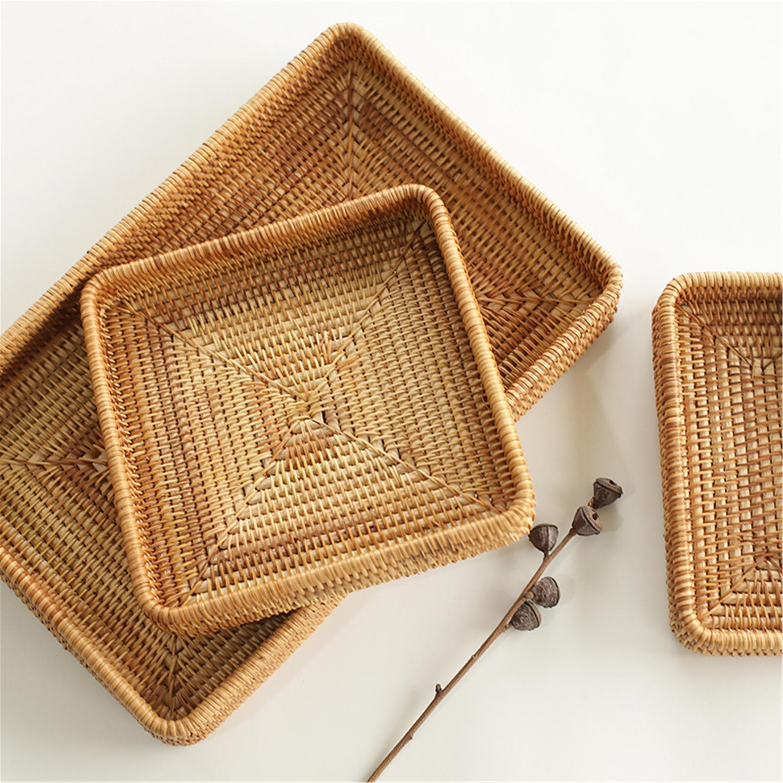 Handmade rattan woven basket,Fruit bread basket,Desktop cosmetics storage box,Housewarming gift