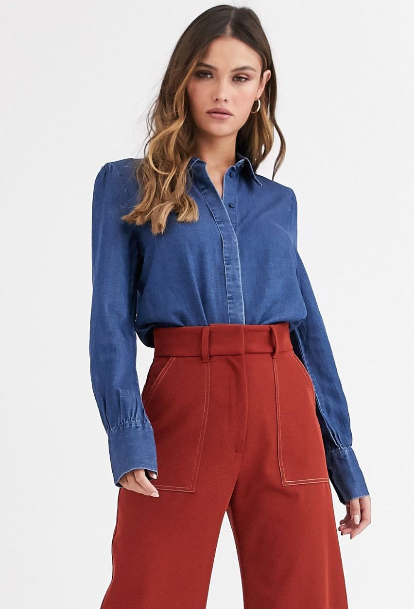 Camisa vaquera con mangas abombadas en azul Aware de Vero Moda