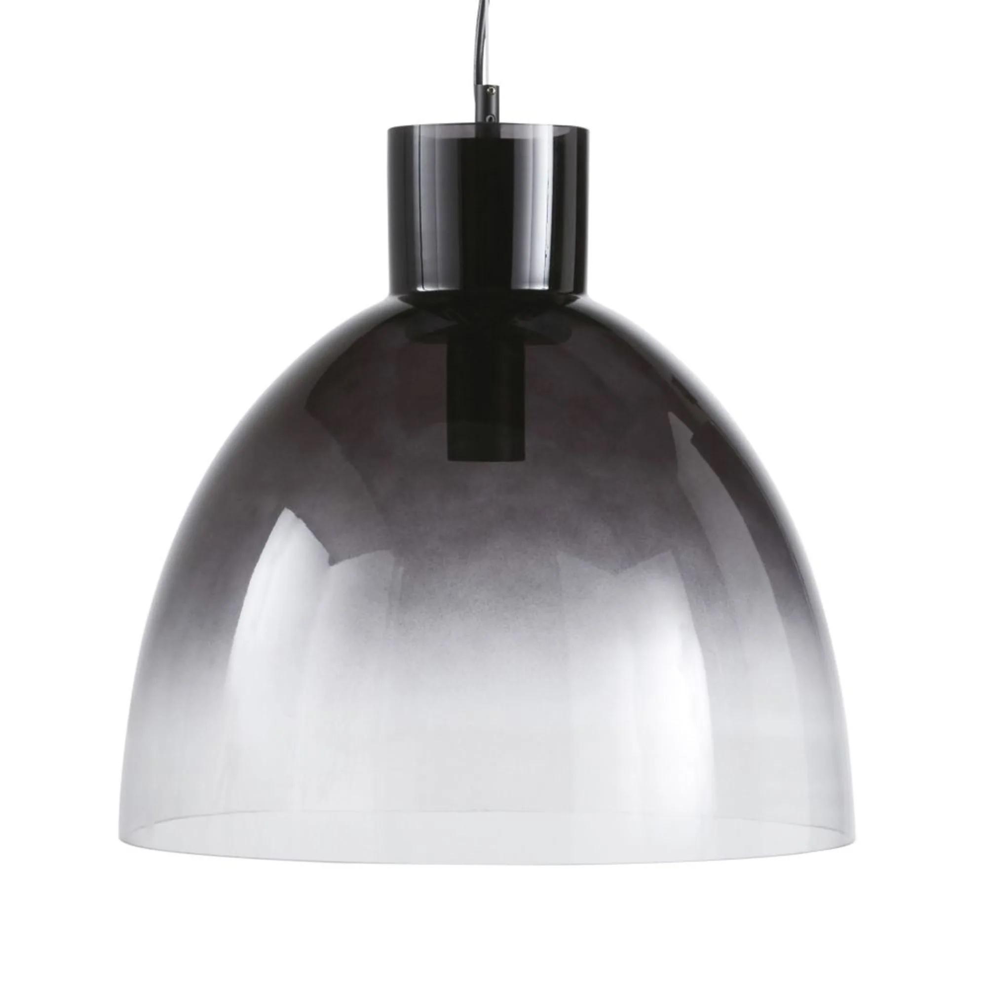 Lámpara de techo cristal tintado negro transparente efecto degradado.