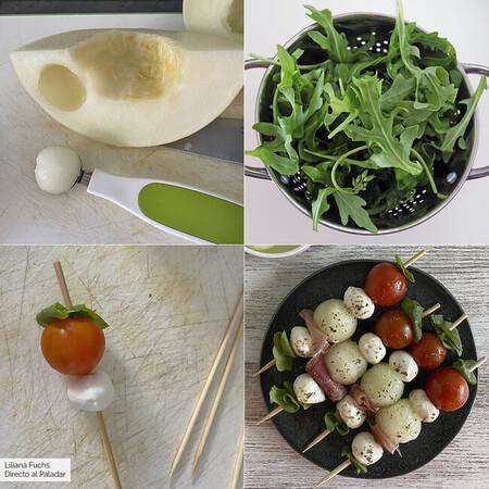 paso a paso brochetas de melón, jamón, mozzarella y tomate
