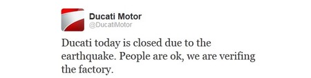 Última hora: Ducati cierra la fábrica por el segundo terremoto