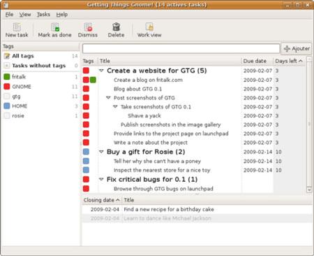 Getting Things GNOME, organiza tus tareas en Linux