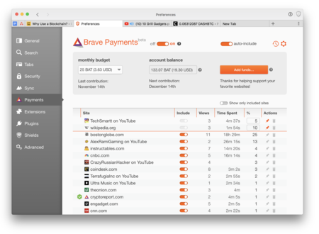 Brave Payments Youtube