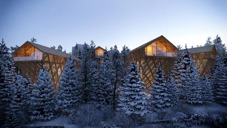 Peter Pichler Architecture Kitzbuhel Tree Suites Exterior Night