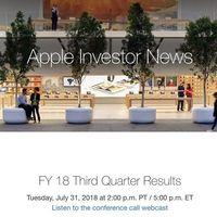 Apple presentará sus resultados financieros del tercer trimestre fiscal de 2018 este 31 de julio