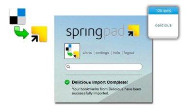 SpringPad importa tus marcadores de Delicious