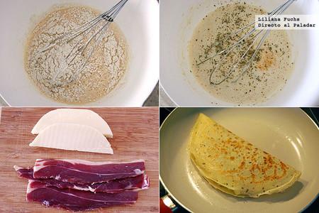 Crêpes de jamón y queso provolone. Receta para el Martes de Carnaval