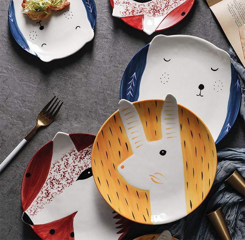 Platos creativos de Corea para el desayuno plato de fruta para niños 6 o 8 pulgadas pintado a mano plato de animales cubiertos de cerámica de dibujos animados