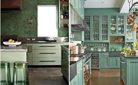 ideas para usar el verde en las cocinas
