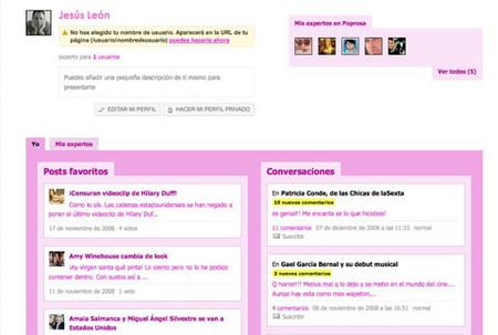 Nueva página de usuario en Poprosa