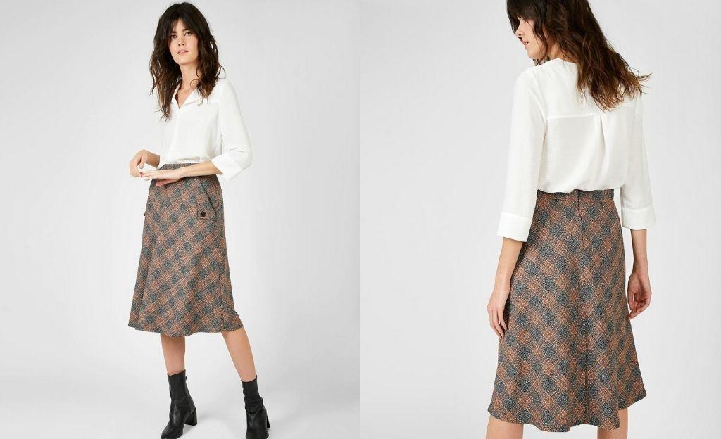 Falda de cuadros con bolsillos