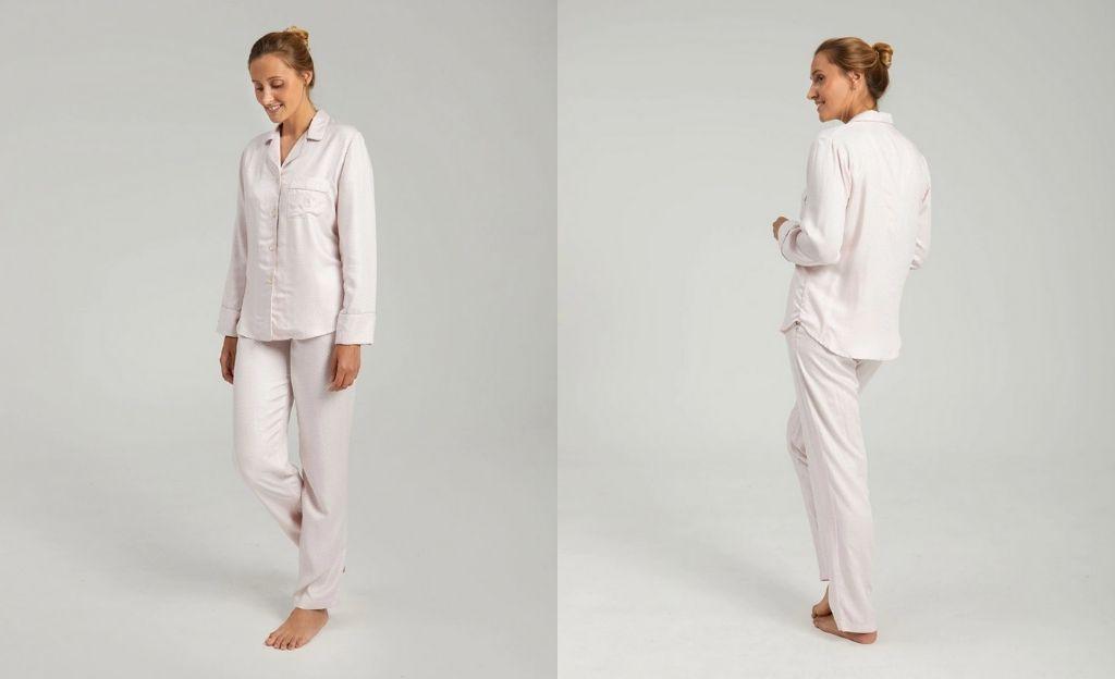 Pijama de mujer con pantalón largo y cuello camisero