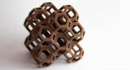 Octaedros impresos en chocolate