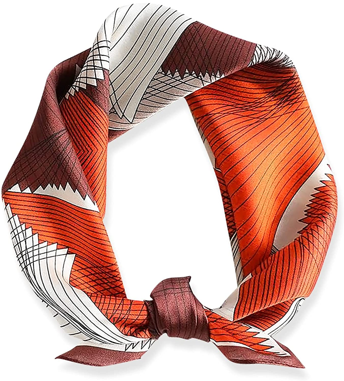 LumiSyne Bufandas De Seda Moda Mujer Bufanda Cuadrado Patrón De Geometría Satén Seda Suave y Cálida Pañuelo Estilo Casual y Negocios Bufanda De Cuello Primavera Otoño