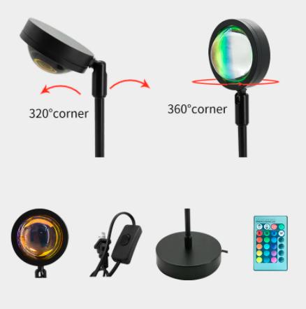 Lámpara de proyección de atardecer RGB con Control remoto, proyector Led de arcoíris con diferentes acabados.