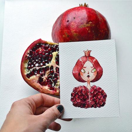 Esta artista reimagina las frutas y los vegetales como personajes de acuarela