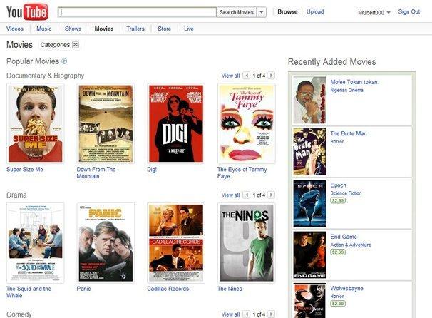 alquiler cine en youtube