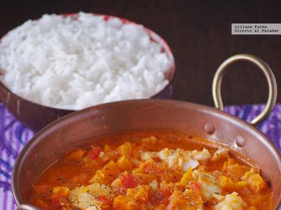Curry rojo de bacalao y calabaza. Receta exótica para Semana Santa