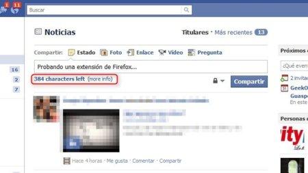 Añade un contador de caracteres a las actualizaciones de Facebook en Firefox