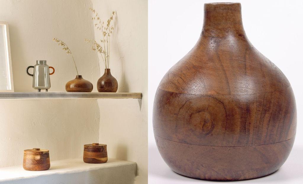 Jarrón Tyara madera maciza acacia 15,5 cm