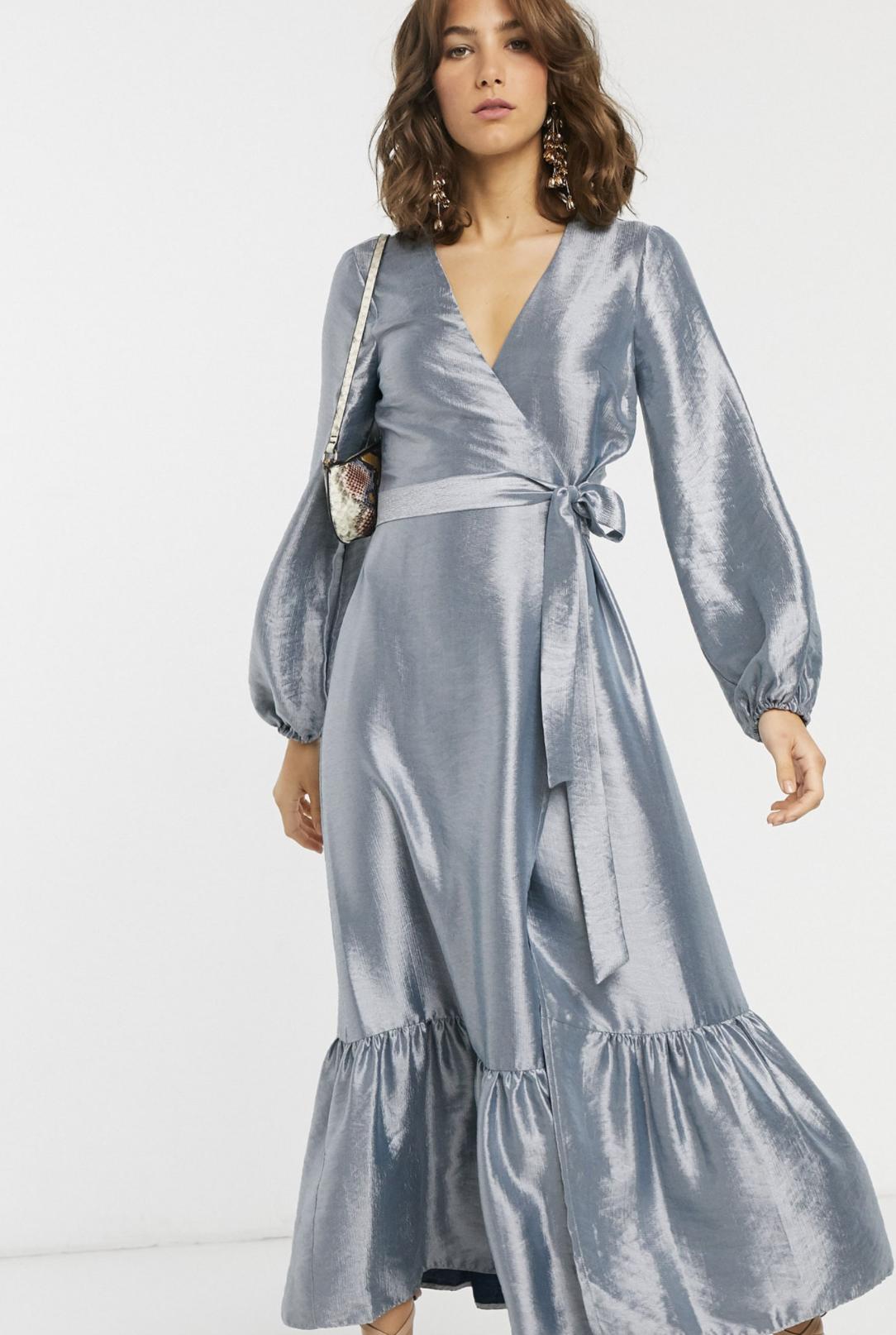 Vestido midi cruzado de tafetán metalizado de ASOS DESIGN