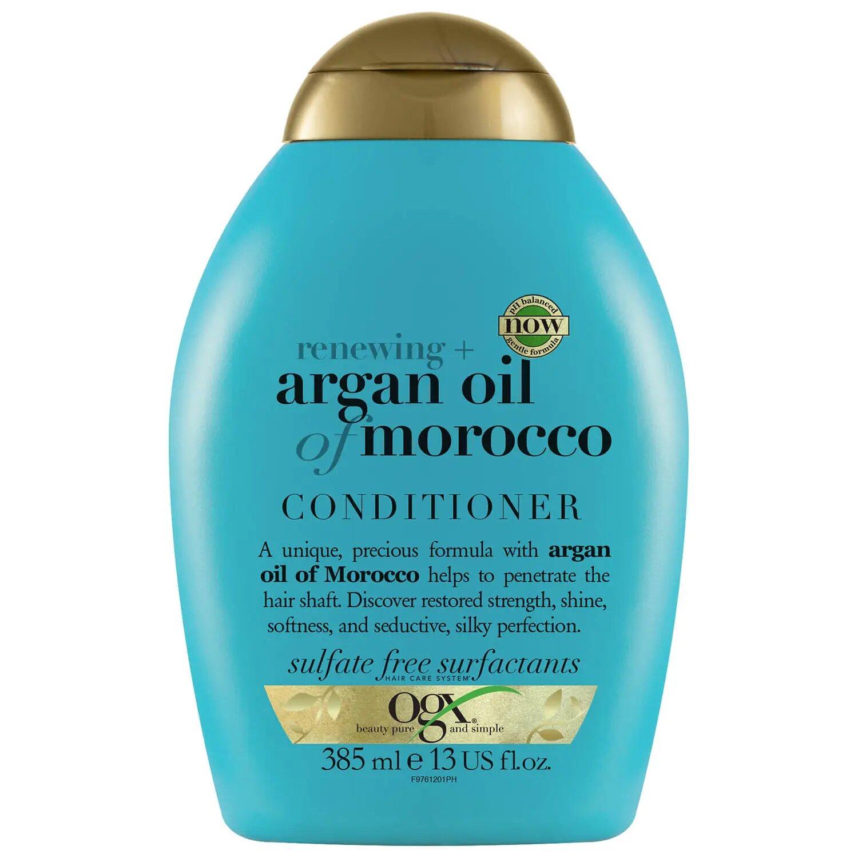 OGX Acondicionador Hidratante sin Sulfatos para Pelo Dañado, Aceite de Argan de Marruecos, Extra Strength