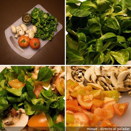 comida para llevar - ensalada de canónigos - preparación