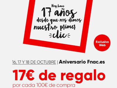 Aniversario Fnac: 17 euros de regalo por cada 100 euros de compra