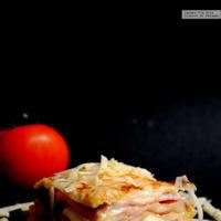 Lasaña de jamón, queso y pesto. Receta