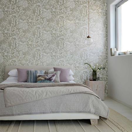 Dormitorio Con Papel Pintado Estampado En Gris Villalba Interiorismo