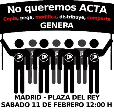 El Partido Pirata llama a manifestarse mañana contra el #ACTA y la Ley Sinde (Madrid, 12:00 h. Pza. del Rey)