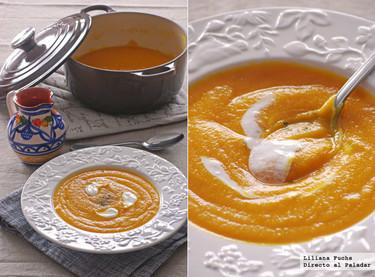 Receta de crema de lentejas rojas. Color naranja por triplicado