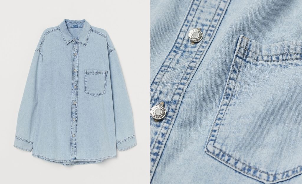 Camisa vaquera oversize de lavado claro
