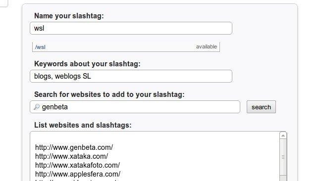 Sistema de creación de slashtags de Blekko