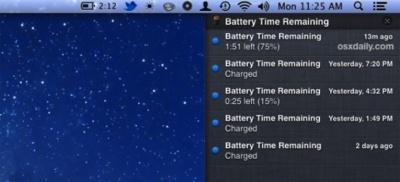 Recibe notificaciones sobre la carga de tu batería dentro del Centro de notificaciones de Mountain Lion