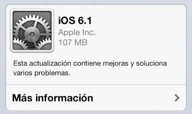 iOS 6.1 actualización