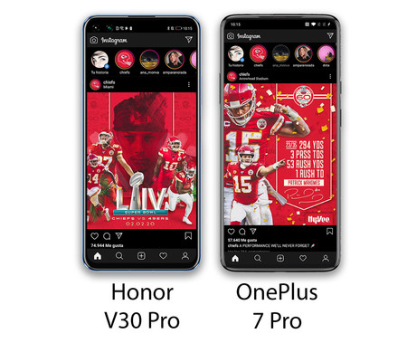 Honor V30 Pro Diferencia Interfaces