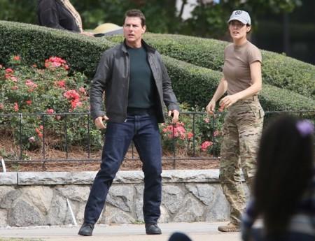 Tom Cruise y Cobie Smulders en el rodaje de Jack Reacher 2