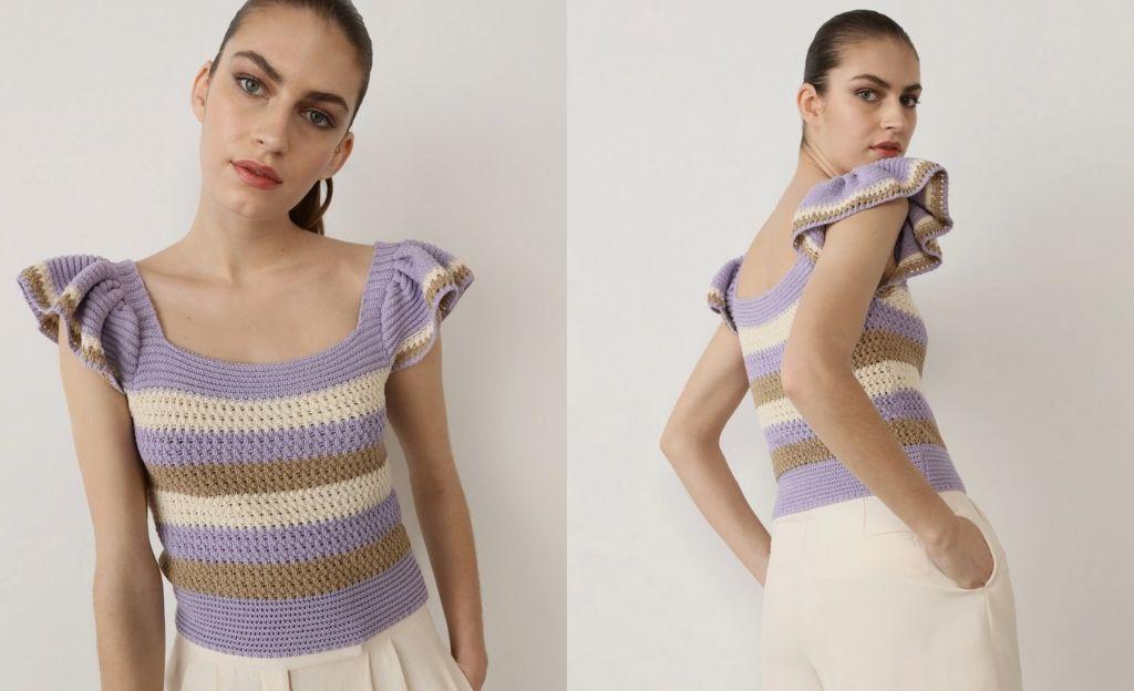 Top de crochet en tonos tierra y lila con volantes en las mangas.