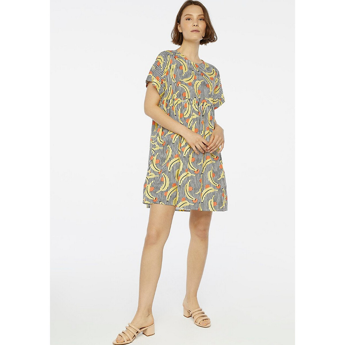 Vestido corto de estampado de plátanos