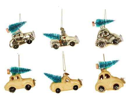 Adornos de Navidad con coche y abeto