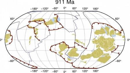 El movimiento ininterrumpido de las placas tectónicas de la Tierra durante los últimos 1.000 millones de años en 40 segundos