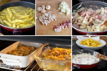 Patatas a la carbonara - elaboración